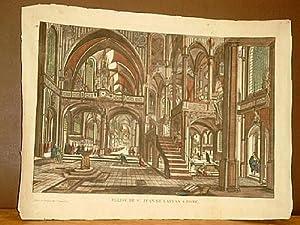 Eglise de St. Jean de Latran a Rome. Altkolorierter Kupferstich bei Ilocquart, Rue St. Jacques No. ...