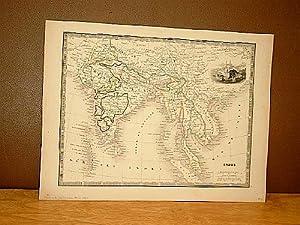 Indes. Grenzkolorierter Stahlstich von Monin um 1851.