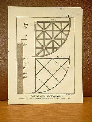 Astronomie Instrumens ( Instruments ), Quart de cercle mural. Construction de son Armure & C., ...