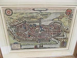 Hamburgum. Altkolorierter Kupferstich von 1588 aus dem: Braun-Hogenberg