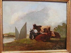 Kühe auf der Weide. Ölgemälde auf Platte.: Kuntz, Karl ( * 1770 Mannheim - 1830 Karlsruhe ) ( ...