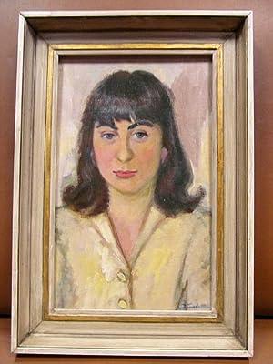 Bildnis einer jungen Frau. Öl auf Platte, signiert.: Junker, Hermann ( *1903 Safi, Marokko- 1985 ...