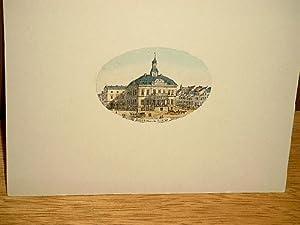 Rathhaus in Altona. Kolorierter Stahllstich in ovaler Miniaturform um 1830.