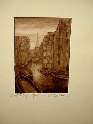 Deichstraßenfleet, Hamburg. Original-Tuschzeichnung von A. Gruber um 1920.: Gruber, A.