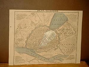 Plan von Hamburg. Grenzkolorierter Stahlstich von F. Eulenstein in Weimar um 1840. Die Brandstätte ...
