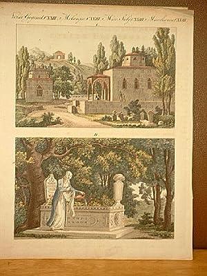 Türkische Gräber: Altkolorierter Kupferstich aus dem Bilderbuch für Kinder von Friedrich Bertuch um...
