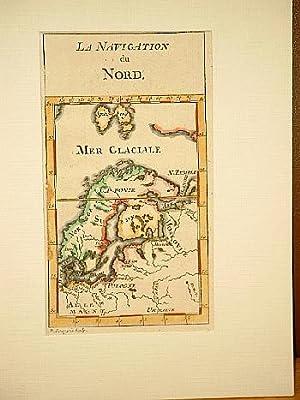 La Navigation du Nord. Altkolorierte Kupferstichkarte von P. Bourgoin um 1750, Skandinavien und die...