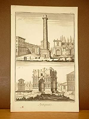 Trajans-Säule und Janusbogen. ( Kupferstich von Benard aus der Enzyklopädie von Denis Diderot und D...