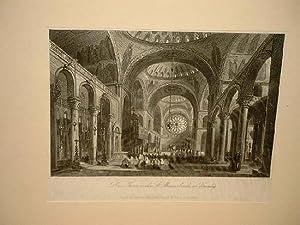 Das Innere der St. Marcuskirche in Venedig. Stahlstich von Payne um 1840.