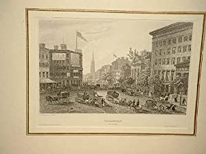 Broadway (New York). Drawn after nature. Stahlstich um 1850.