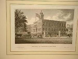 City-Hall (das Rathaus) in New York. Stahlstich um 1850.