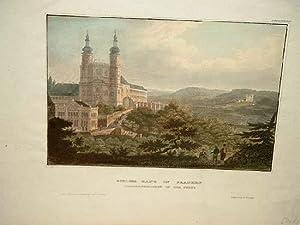 Schloss Banz in Franken,Vierzehnheiligen in der Ferne. Altkolorierter Stahlstich um 1850.