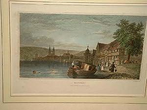 Boppart (Boppard): Ansicht entlang des Rheins. Im Vordergrund Personenstaffage mit Wasserträger und...