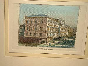 "Dortmund: ""Hotel de ville de Dortmund"". Altkolorierter Holzstich um 1880."
