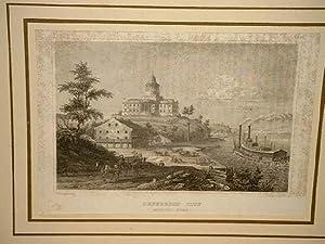 Jefferson City (Missouri-River). Stahlstich um 1840.