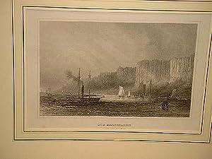 """Hudson: """" Die Pallisaden (Ufer des Hudson) """". Stahlstich um 1850."""