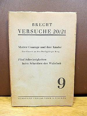 Versuche 20/21. Mutter Courage und ihre Kinder.: Brecht, Bertolt