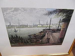 Hamburg. Blick über die Binnenalster auf den Jungfernstieg. Original-Farbradierung - signiert.: ...