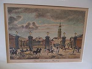 Altkolorierte Original-Lithographie: *Das Millernthor in Hamburg* ( um 1870 gedruckt ): Sohnemann. ...