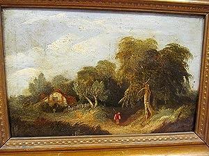 Mann im Wald vor knorrigem Baum, weiter hinten ein altes Haus. Ölgemälde auf Platte um 1880, alt ...