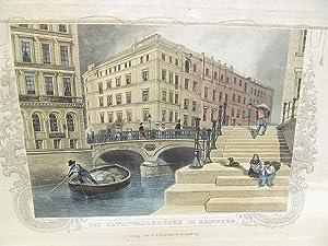Die Altenwallbrücke in Hamburg. Altkolorierter Stahlstich mit ornamentaler Bordüre von James Gray ...