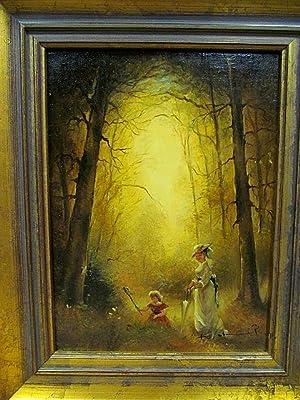 Ölgemälde einer Dame mit schmetterlingsfangendem Mädchen im Wald. Unleserlich signiert.