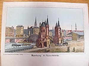 Hamburg, die neue Kaiserbrücke. Kolorierte Lithographie auf einem Briefbogen.