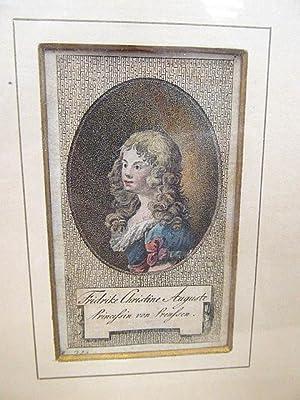 Fridrike Christine Auguste, Prinzessin von Preußen. Koloriertes Kupferstich-Porträt nach links im ...
