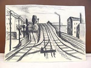 Signal an Eisenbahngleisen wohl in/um Berlin. Original-Kohlezeichnung.Vom Künstler unsigniert, ...