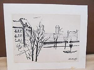 Kleine schwarz-weiße Faserstiftskizze Baum und Häuser in Berlin. Rechts unten mit *Kohlhoff * ...