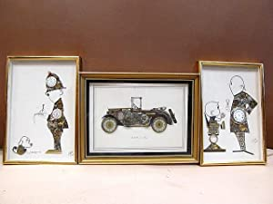 3 Horological Collages, signed and framed under glass. Policemant   BMW 3/15 Dixi   Clockmaker an...