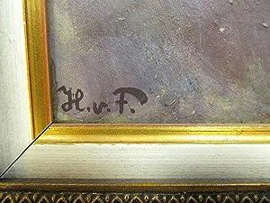 Ohne Titel ( Abschied - letzte Umarmung ). Öl auf Karton, links unten mit *H.v.F. * monogrammiert, ...