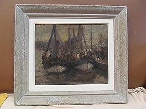 Fischkutter im Hafen mit Personenstaffage. Öl auf Platte, links unten mit *Tesdorpf-Edens (19)45 * ...