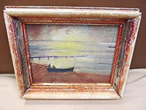 Kleines Aquarell / Mischtechnik Boot im Hafen mit 2 Anglern im Sonnenuntergang, rechts unten mit *W...