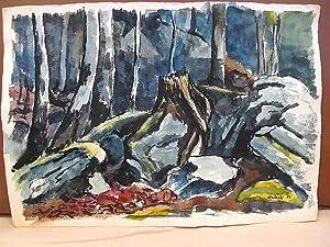 Farbige Aquarellzeichnung Baumwurzel unter Steinen im Wald. Das Blatt rechts unten mit *Kohlhoff (...