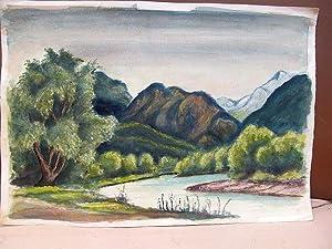 Farbige Aquarellzeichnung von grün bewaldeten Bergen am blauen Gewässer. Das Blatt links unsigniert...