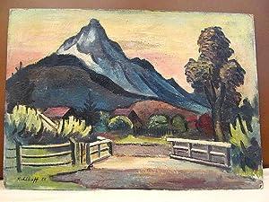 Blaue Berge der Alpen vor Häusern und Gatter. Ölgemälde auf Platte, links unten mit *Kohlhoff (19)...