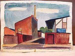 Farbiges Aquarell eines Industriegebäudes und -hofs wohl in Berlin, unsigniert. Verso eine ...