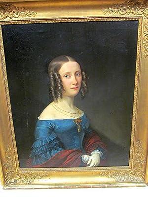 Frauen-Bildnis des frühen Biedermeiers in Öl auf Leinwand ( doubliert ), alt gerahmt. Leider ...