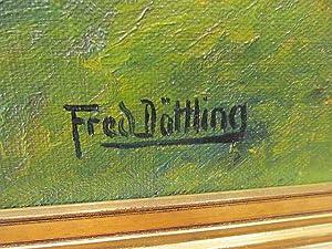 Schwarzwaldhaus am Fluß im Wald. Ölgemälde auf Leinwand, rechts unten signiert,: Döttling, Fred ( ...