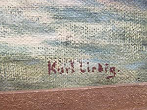 Litnisschrofen ( auch Littnisschrofen ). Ölgemälde auf Platte, rechts unten mit *Kurt Liebig * ...