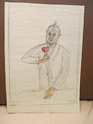 Mann mit Rotweinglas in der Hand. Ankolorierte signierte Original-Bleistiftzeichnung aus stärkerem ...