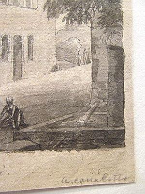 Vue prise a Anagni. Aquarellierte Federzeichnung mit Hausansicht aus Anagni mit Brunnen und ...