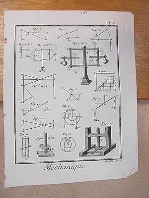 Mechanique. Planche 1. ( Kupferstich von Benard aus der Enzyklopädie von Denis Diderot und D'...