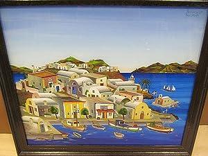 Hinterglasmalerei einer griechischen Insel, möglicherweise Im Umfeld Santorins, rechts oben ...