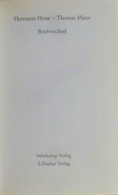 Briefwechsel.: Hesse, Hermann, Thomas