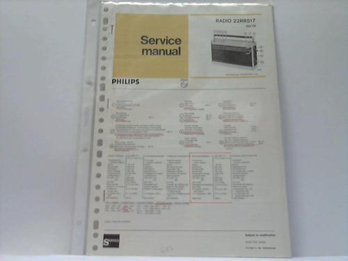Radio 22RR517 00/19: Philips; Service manual