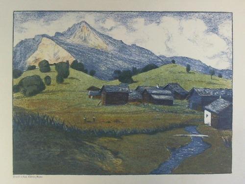 Voralpenlandschaft - Farblithographie: Meier, Carl Theodor