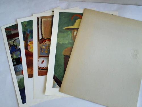 4 farbige Bildtafeln in einer Mappe: Macke, August