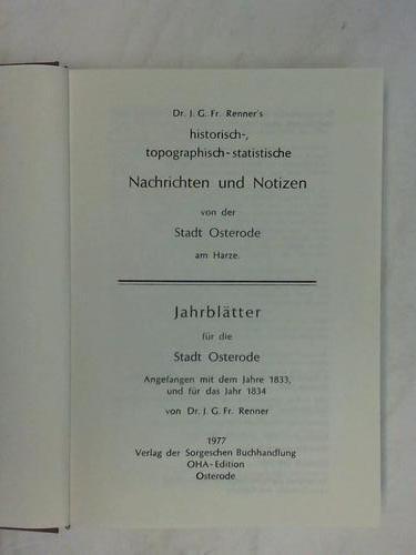 Dr. J. G. Fr. Renner's historisch-, topographisch-statistische: Renner, J. G.